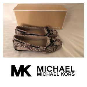 New Michael Kors Amber Snakeskin Loafers